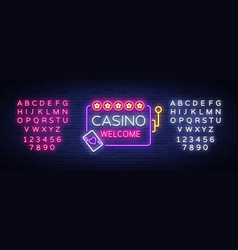 casino welcome logo in neon style design template vector image