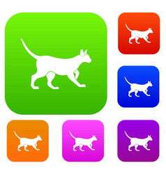 cat set color collection vector image
