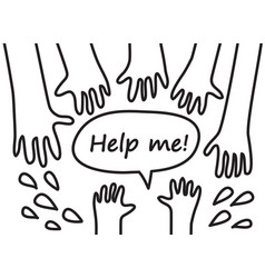 child hand black and white symboll rescue help vector image