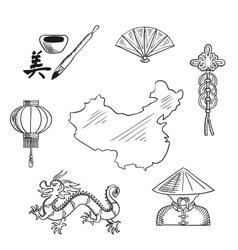 Chinese national symbols around a map vector