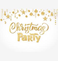 christmas party poster template gold on white vector image