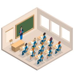 classroom woman teacher and children isometric vector image