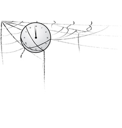 Clock entangled in spiderweb vector