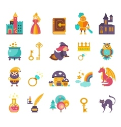 Collection fairy tale elements icons vector