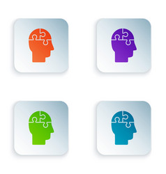 Color human head puzzles strategy icon isolated on vector