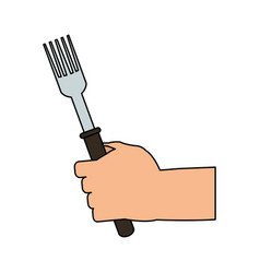 Color image cartoon hand holding a fork ready to vector