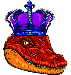 Colored crocodile with crown vector