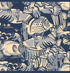 Colored seamless pattern with coral reef fish vector
