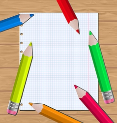 Colorful pencils on paper sheet background vector image
