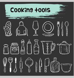 Cooking tools doodle sketch icon set vector