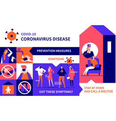 coronavirus recommendations - colorful flat design vector image