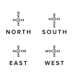 Creative direction logos set north south east vector