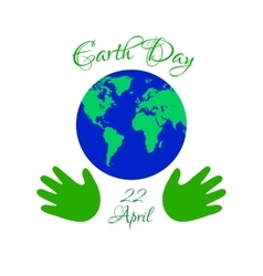Earth day planet in kids hands vector