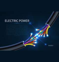 Electric power cables energy electrical wires vector