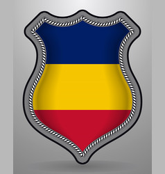 Flag of romania badge and icon vector