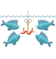 flat fishing icon with hook bait and hungry fishes vector image