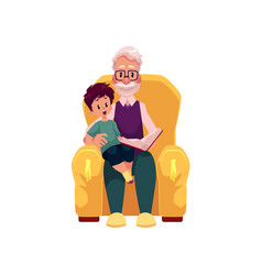 Flat grandfather grandson sit at armchair vector