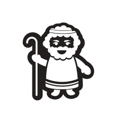 Flat icon in black and white father of jesus vector