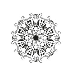 floral mandala design element isolated on white vector image