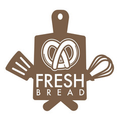 fresh bread bakery shop isolated icon pretzel vector image
