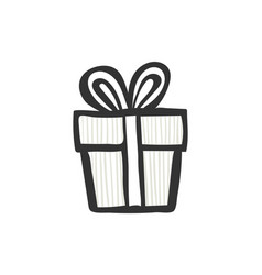 gift icon simple striped present box with ribbon vector image