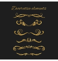 Gold text dividers set Ornamental decorative vector image