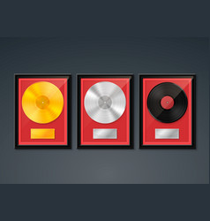 Golden platinum hit collection disc vector