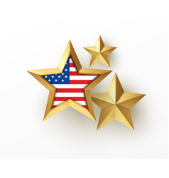 golden realistic 3d star with american flag vector image