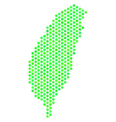 green honeycomb taiwan island map vector image