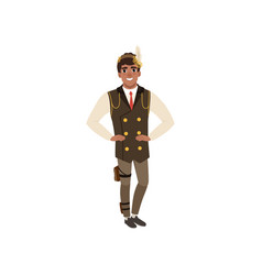Guy in steampunk costume posing with arms akimbo vector