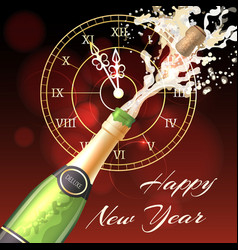 Happy new year champagne poster vector