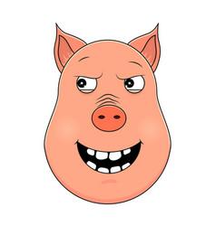 head of malevolent pig in cartoon style kawaii vector image