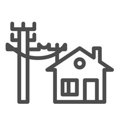 House electrification line icon electricity and vector