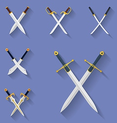 Icon set ancient swords flat style vector