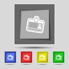 Id card icon sign on original five colored buttons vector image