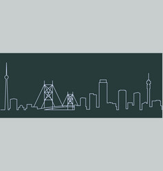 Johannesburg single line skyline vector