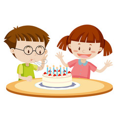 Kids blowing cake on birthday vector