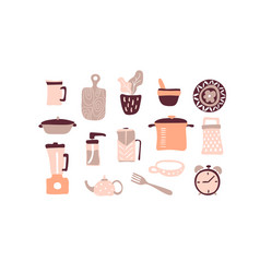 Kitchen tools set kitchenware collection vector