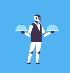 Modern robot waiter hold covered plate helper bot vector