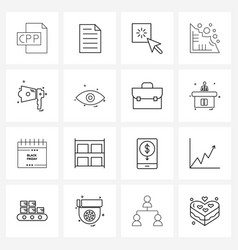 Modern style set 16 line pictograph grid based vector