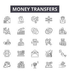money transfers line icons signs set vector image