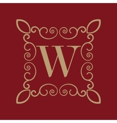 Monogram letter W Calligraphic ornament Gold vector