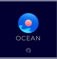ocean logo waves and sun into glossy circle vector image