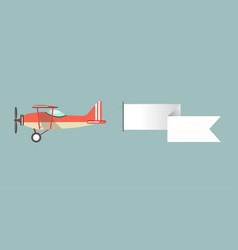 old-fashioned monoplane with attached long stripe vector image