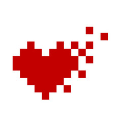 Pixel red heart icon minimalism vector