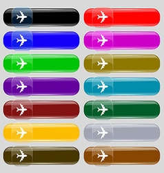 Plane icon sign Set from fourteen multi-colored vector
