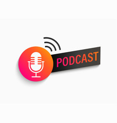 podcast symbol icon with studio microphone vector image