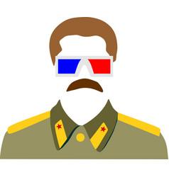 Portrait of joseph stalin stereo glasses vector