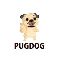 pug dog thump up mascot character logo icon vector image
