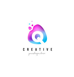 Q letter dots logo design with oval shape vector